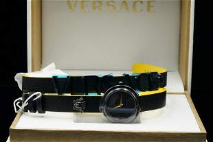 Versace V-Flare 28mm Black Leather Wrap Watch