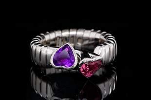 Bvlgari 1.00ctw Amethyst & Pink Tourmaline 18K Ring