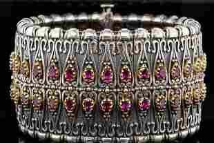 Konstantino 15.50ctw Rhodolite & Sterling Bracelet