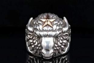 King Baby Sterling Silver Star Buffalo Men's Ring