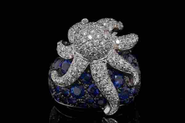 5.75ctw Blue Sapphire & Diamond 18K Octopus Ring