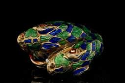 Italian 18K Yellow Gold & Enamel Snake Ring