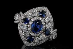 2.40ctw Blue Sapphire, 1.00ctw Diamond 18K Ring