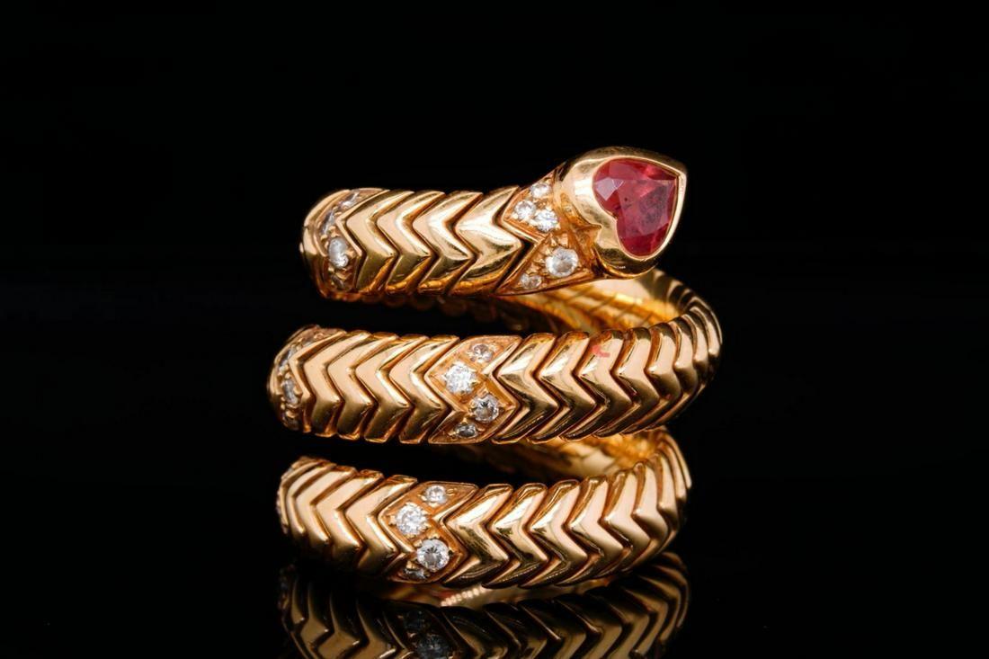 Bvlgari Spiga Pink Tourmaline, Diamond & 18K Ring