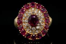 1.50ctw Ruby, 0.65ctw SI1-SI2/G-H Diamond 18K Ring