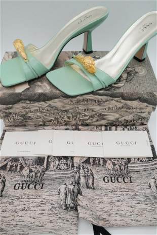 "Gucci 75mm ""Dora"" Leather Sandals, NIB; Aqua Green"