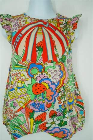 Gucci Baby Multicolor Cotton Onesie W/Bow Applique