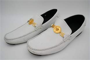 Versace Men's White Leather Loafers W/Gold Medusa
