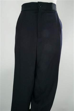 Ferragamo Men's Navy Wool Blend Drawstring Pants
