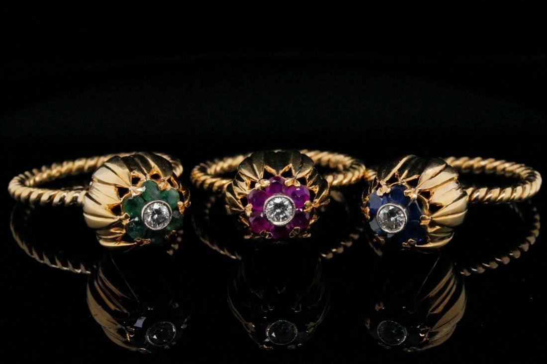 Set of (3) Gemstone 18K Tulip Rings W/Diamonds
