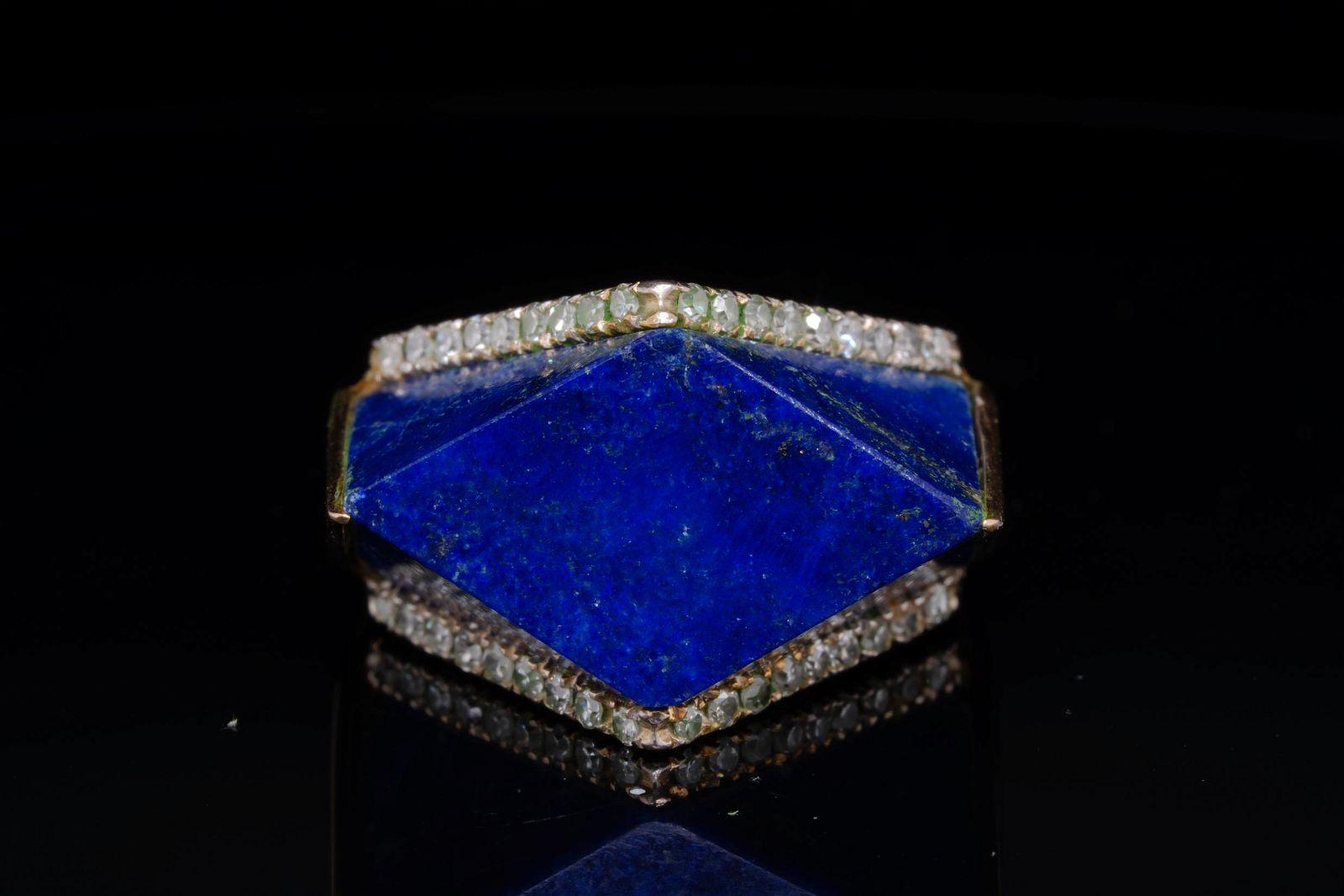 19mm Geometric Lapis and 14K Ring W/Diamonds