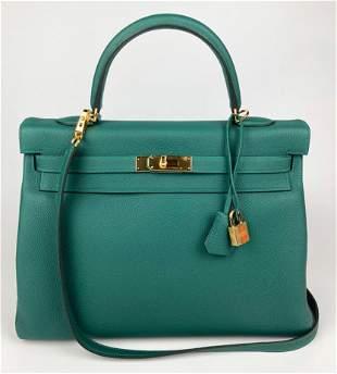Hermes Malachite Green Togo Leather Kelly 35