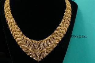 Tiffany & Co. Elsa Peretti 18K Mesh Bib Necklace