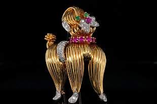 Tiffany & Co. 1.35ctw Ruby & Diamond 18K Dog Brooch