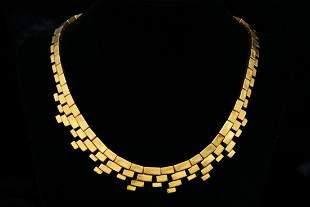 Ilias Lalaounis 18K Hammered Brick Link Necklace