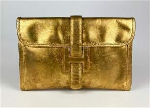 Hermes Custom Gold Foil Vintage 29cm Jige PM Clutch