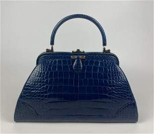 Judith Leiber Blue Alligator Convertible Handbag