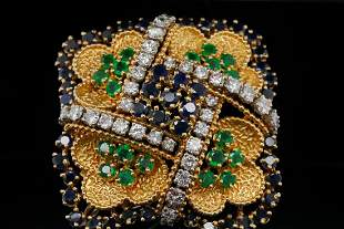 13.75ctw Blue Sapphire, Emerald & Diamond 18K Brooch
