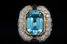 11ct Blue Topaz, 4.25ctw Diamond & Sapphire 14K Ring
