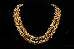 """Solid 14K Yellow Gold 37.5"""" Handmade Necklace"""