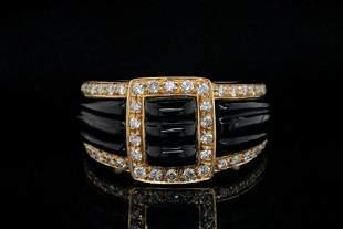 Van Cleef & Arpels 0.50ctw Diamond, Onyx & 18K Ring