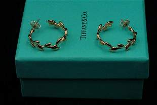 Tiffany & Co. Paloma Picasso 18K Olive Leaf Earrings