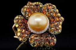 6.00ctw Sapphire, Pearl & 18K Pendant W/Diamonds
