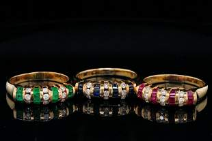 2.05ctw Multi-Gemstone and Diamond 18K Ring Set