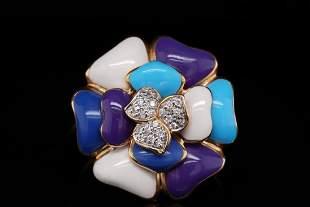 Rosato 14K Yellow Gold and Enamel Ring W/Diamonds