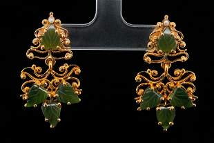 """7.5mm Carved Jade and 18K Yellow Gold 1.5"""" Earrings"""