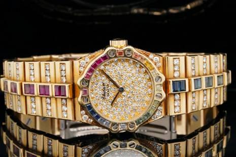 Chopard 5.50ctw Multi-Gemstone & Diamond 18K Watch