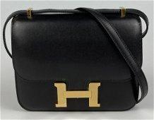 Hermes 18cm Noir Box Calf Leather Mini Constance