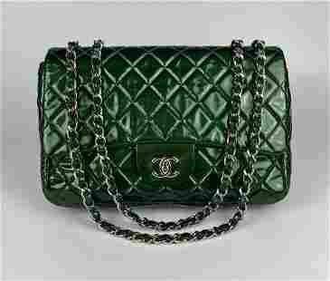 Chanel Metallic Green Patent Jumbo Classic Flap Bag