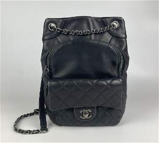 Chanel Black Leather Backpack