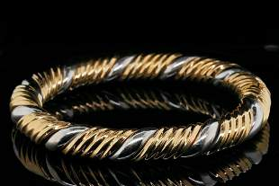 Solid 18K Yellow and White Gold Bangle Bracelet