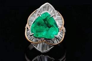 5.85ct Emerald, 1.20ctw Diamond Platinum/18K Ring