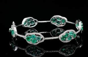 6.25ctw Emerald, 2.25ctw Diamond 18K Bangle