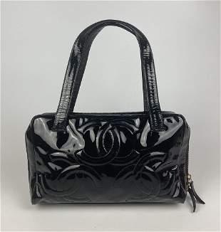 Chanel Patent Leather CC Logo Top Handle Satchel Bag