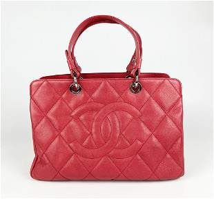 Chanel Pink Quilted Caviar Leather Denim 31 Tote Bag