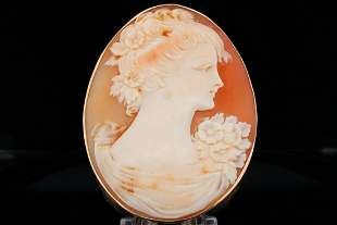 14K Yellow Gold and Carved Shell Cameo Brooch