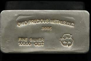 Ohio Precious Metals 100 Troy Ounce .9995 Silver Bar