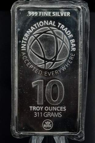 ITB 10 Troy Ounce .999 Silver Bar