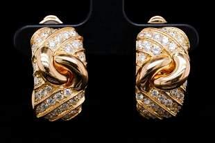 Bvlgari 3.00ctw VS1-VS2/F-G Diamond & 18K Ear Clips