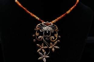 2.50ctw Brown Diamond, 55.00ctw Gemstone 18K Necklace