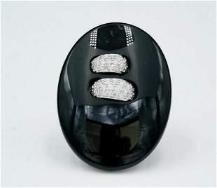 Solid 18K White Gold, 0.75ctw Diamond & Onyx Ring