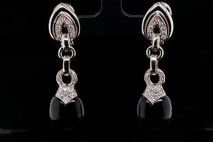 Luca Carati 0.65ctw Diamond, 18K & Onyx Earrings
