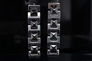 Versace 18K White Gold & Black Ceramic Earrings