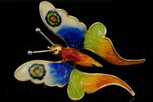 Italian 18K Yellow Gold and Enamel Butterfly Brooch