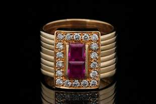 1.30ctw Ruby and Diamond Solid 14K Yellow Gold Ring