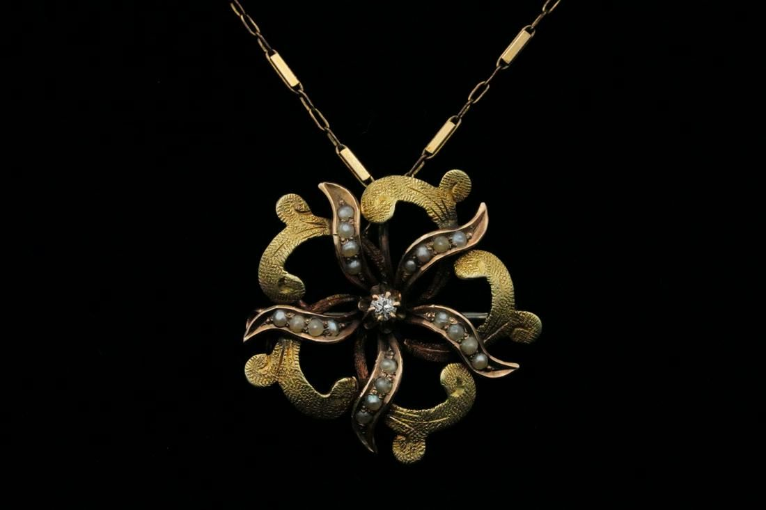 """Victorian 14K Yellow & Rose Gold Pendant on 19"""" Chain"""